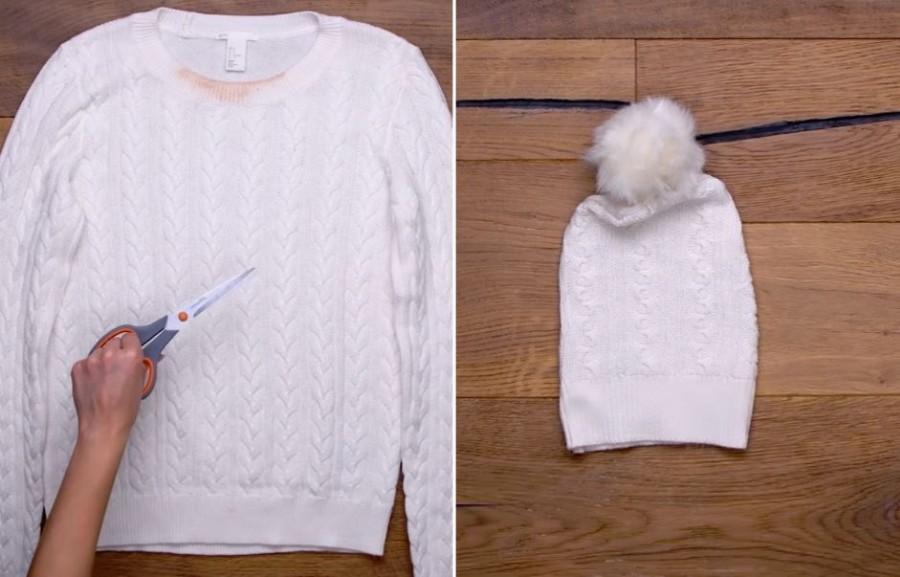 Így lesz sapka a régi pulóverből