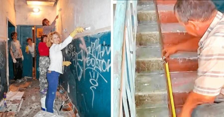 A ház lakói úgy döntöttek, elegük van a lepusztult lépcsőházból