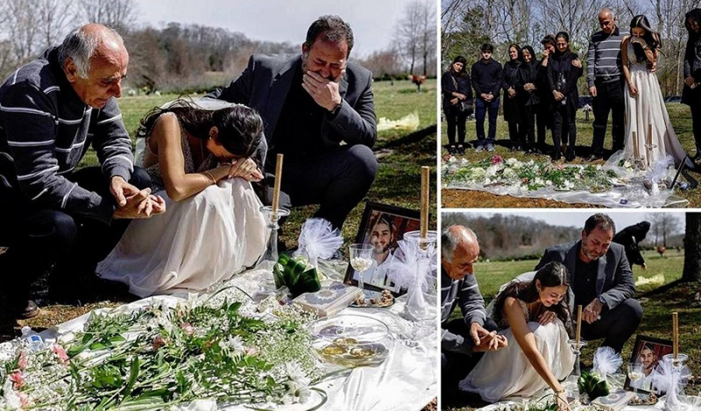 Megrázó: Esküvője napján menyasszonyi ruhában állt vőlegénye sírjánál