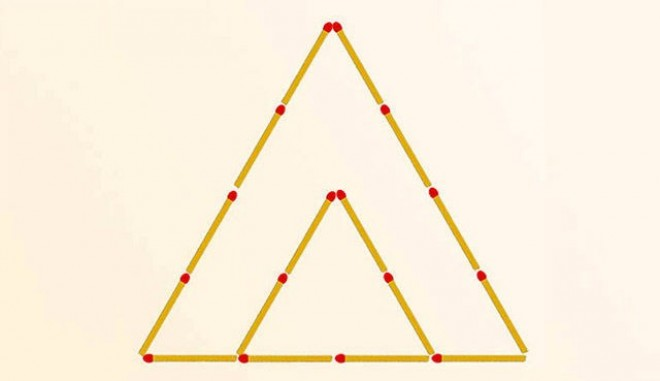 Teszteld a térlátásodat! Mozdíts el 2 gyufát, hogy 3 háromszöget kapj!