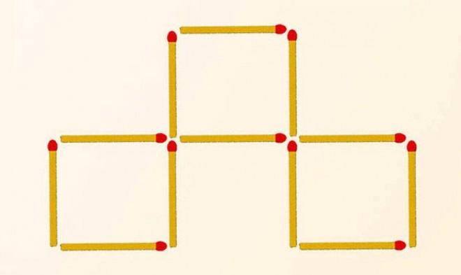 Teszteld a térlátásodat! Mozdíts el 3 gyufát, hogy 4 négyzetet kapj!