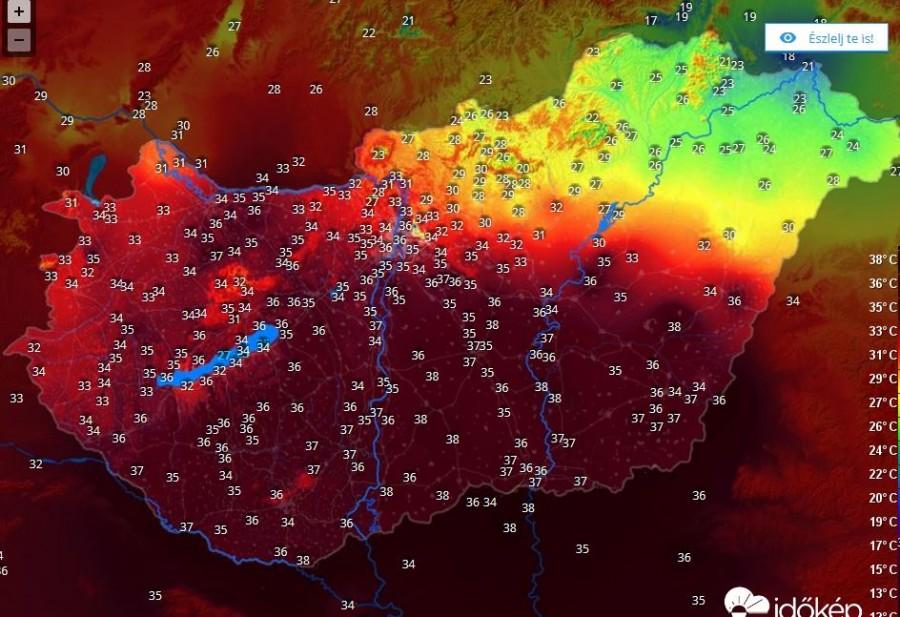 Kegyetlen hőség az ország túlnyomó részén. Ez már piros figyelmeztetési szint!