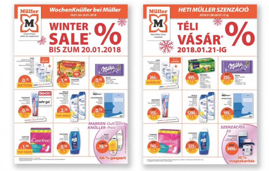 Döbbenetes: hasonlítsd össze az akciós árakat a Müller magyar és német szórólapján