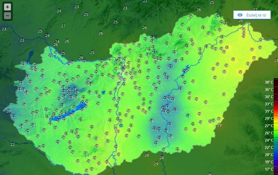 A hőtérkép is jól mutatja, hol tart a hidegfront
